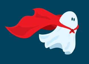 Cute super hero ghost flying with cape