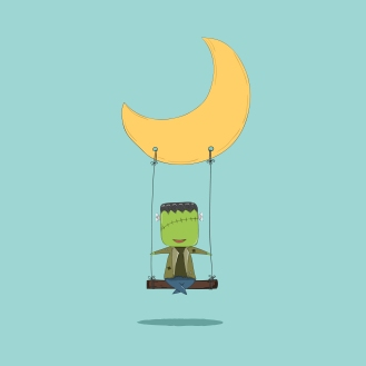 October 16, 2015 Cartoon Frankenstein swinging on a moon, drawin