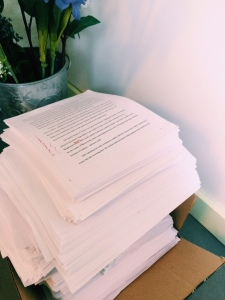 The final stack of all the paper I've gone through in working on a manuscript (ouch)