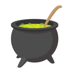 Witching vat cartoon icon