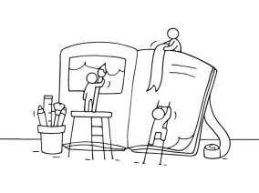 Sketch of working little people with book.